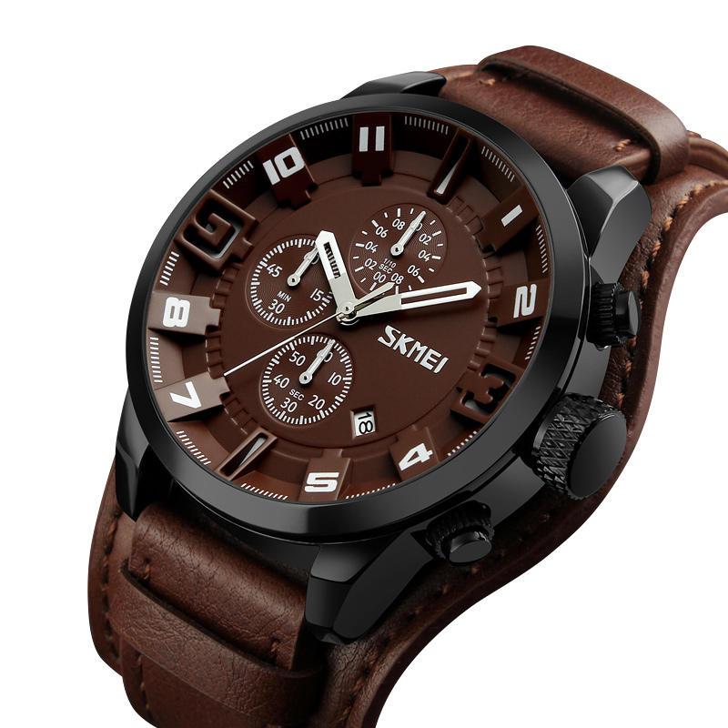 SKMEI 9165 Business Style Leather Strap Men Quartz Watch