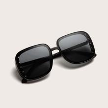 Studded Decor Square Acrylic Frame Sunglasses