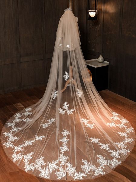 Milanoo Wedding Veils Two Tier Lace Tulle Cut Edge Classic Bridal Veils