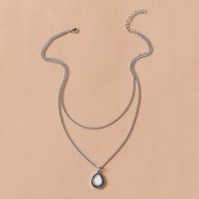 1pc Waterdrop Charm Layered Halskette