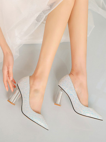 Milanoo High Chunky Heel Party Shoes Pink Pointed Toe Sequins Evening Shoes