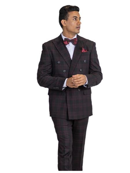 Mens Black & Burgundy Mixed ~ Maroon ~ Wine Window Pane  Suit