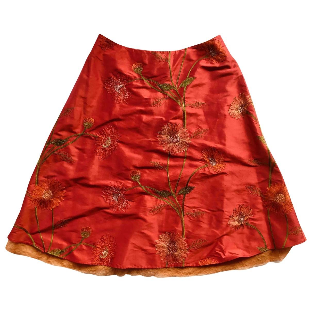 - Jupe   pour femme en soie - rouge