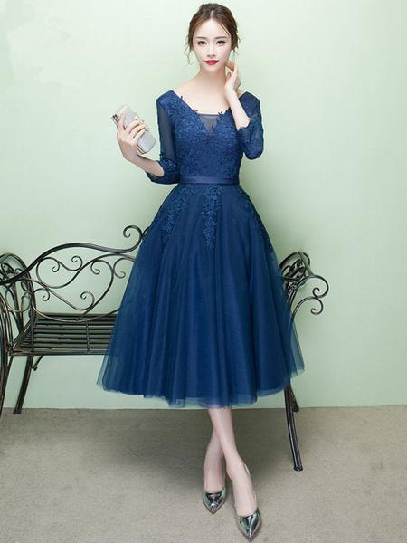 Milanoo Short Prom Dress V Neck Lace Applique Tulle Cocktail Dress 3/4 Sleeve A Line Tea Length Party Dress