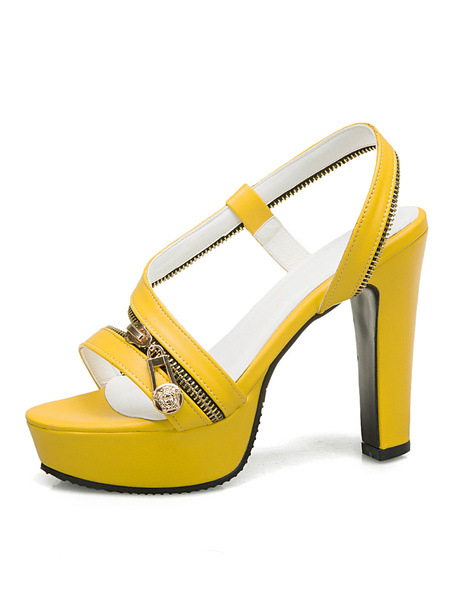 Milanoo Platform High Heel Sandals Womens Zipper Open Toe Slingback Chunky Heel Sandals