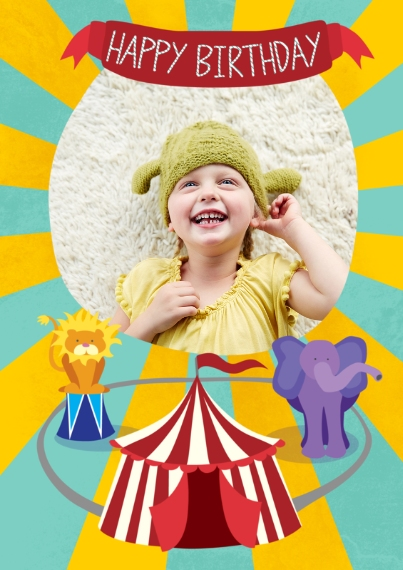 Kids Birthday Party Invites 5x7 Cards, Premium Cardstock 120lb with Scalloped Corners, Card & Stationery -Circus Birthday