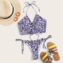 Bikini Badekleidung mit Leopard Muster, Kordelzug und seitlichem Band