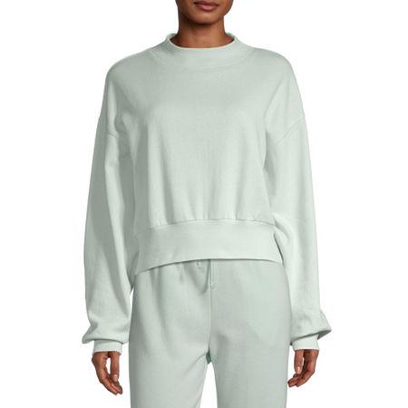 Flirtitude Juniors Womens Mock Neck Long Sleeve Sweatshirt, Medium , Green
