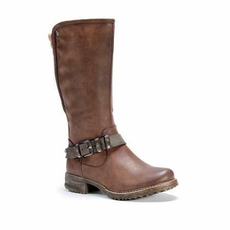 Muk Luks Womens Santina Flat Heel Zip Winter Boots, 7 Medium, Brown