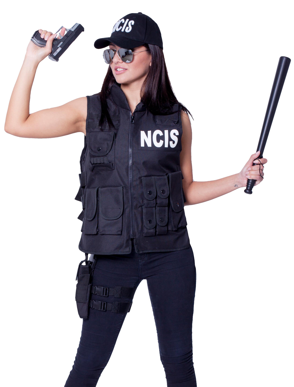 Damen-Kostuem Weste NCIS Damen Grosse: One Size Farbe: schwarz