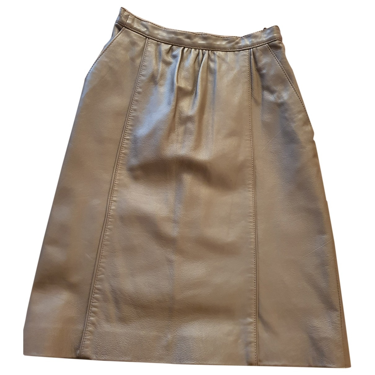 Non Signé / Unsigned \N Brown Leather skirt for Women 36 FR