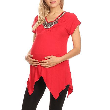 Maternity 'Myla' Embellished Tunic, Medium , Red