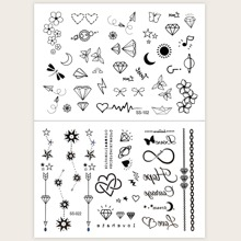 2 Blatt Herz & Blumenmuster Tattoo Aufkleber
