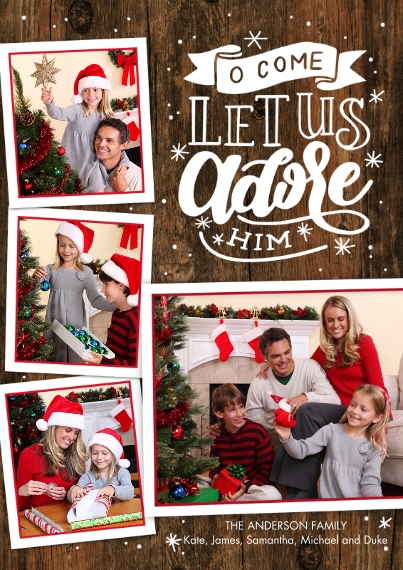 Christmas Photo Cards 5x7 Cards, Standard Cardstock 85lb, Card & Stationery -Christmas Adore Him Hand Lettered by Tumbalina