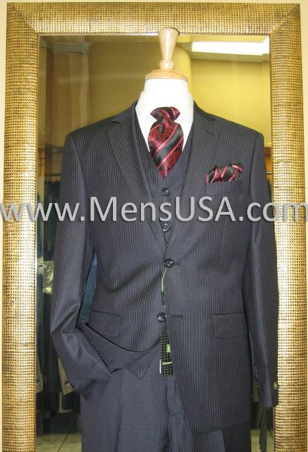 2 Button 3 Piece Black Pinstripe Fitted Suit