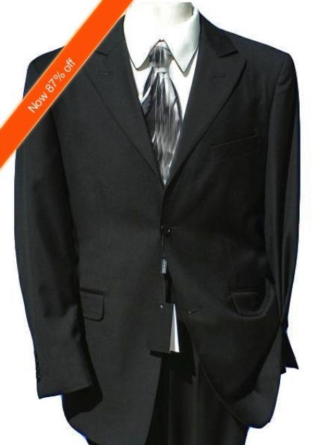 2Button Peak Lapel Jet Black Suit (Also in Navy) Flat Front