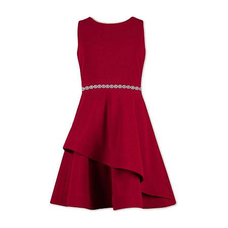 Speechless Big Girls Sleeveless Skater Dress, 12 , Red