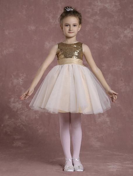 Milanoo Sequined Flower Girl Dresses A Line Tulle Pageant Dresses Toddler's Knee Length Sleeveless Formal Dresses In Light Gold