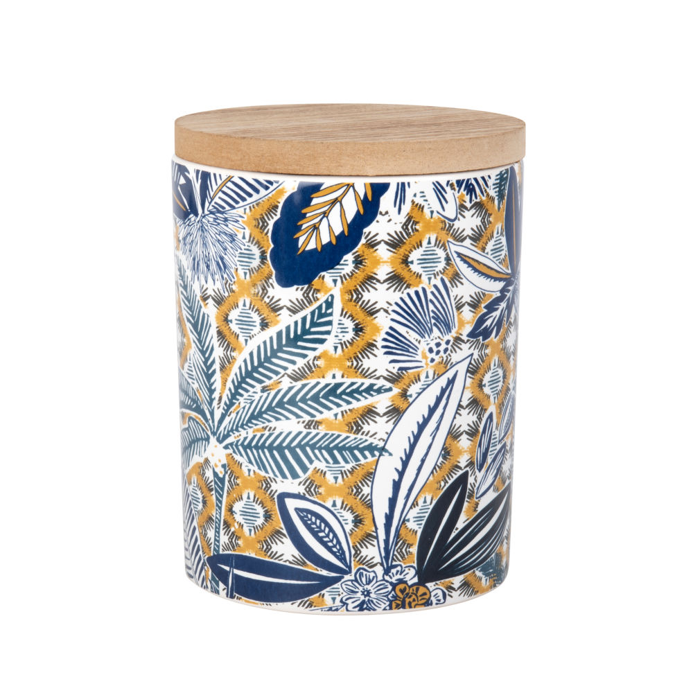 Duftkerze im Keramikgefaess mit mehrfarbigem Tropendruckmotiv