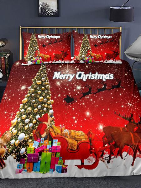 Milanoo Christmas Bedding Set Chic 3-Piece Polyester Fiber Red Christmas Holiday Beddingroom Supplies