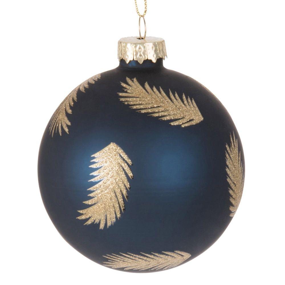 Weihnachtskugel aus Glas, blau mit Federmotiven mit goldenem Glitzer