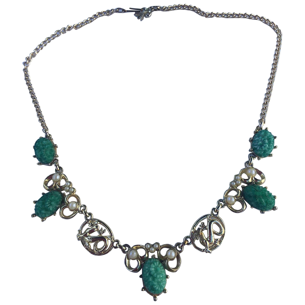 Non Signé / Unsigned Art Déco Green Glass necklace for Women \N