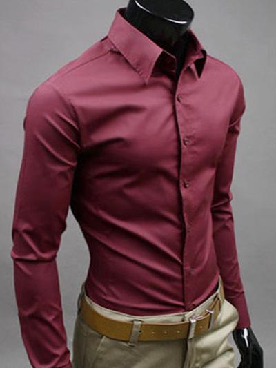Milanoo Men Dress Shirt Solid Color Long Sleeve Shirt Cotton