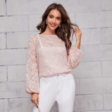 Sheer Jacquard Appliques Lantern Sleeve Top Without Cami