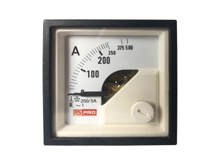 RS PRO Analogue Panel Ammeter 10 (Input) A, 250/5 (CT) A, 500 (Scle) A AC, 48mm x 48mm, 1 % Moving Iron