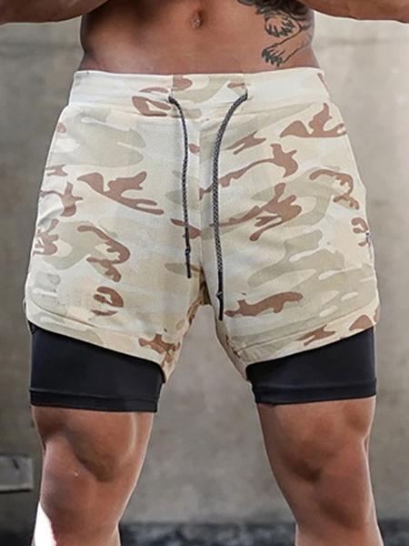 Milanoo Pantalones cortos de entrenamiento para hombres Camo 2 en 1 Pantalones cortos deportivos de entrenamiento de gimnasia livianos