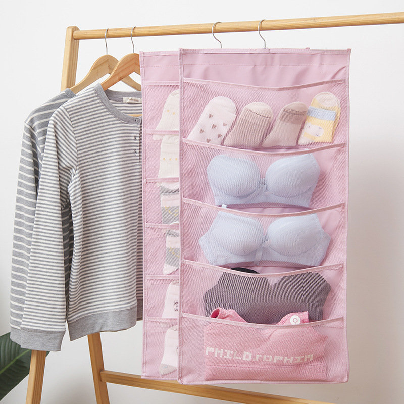Oxford Cloth Storage Bag Wall-Mounted Dormitory Double-Sided Underwear Socks Bra Storage Bag
