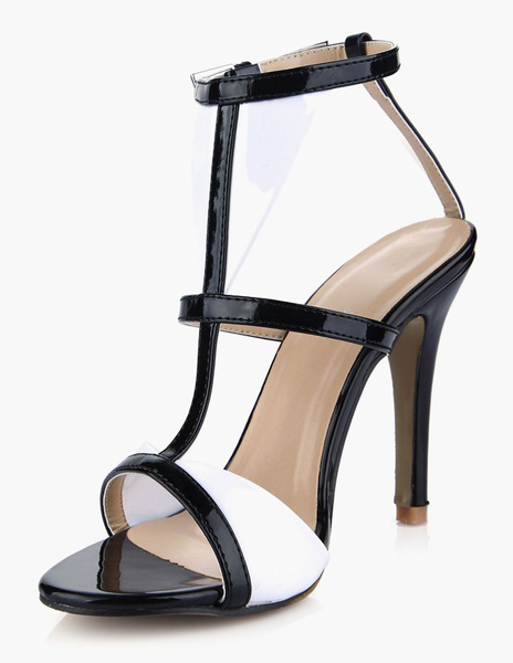 Milanoo High Heel Sandals Womens PU Leather T-strap Open Toe Stiletto Heels Sandals