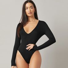 Plunging Neck Solid Fitted Bodysuit