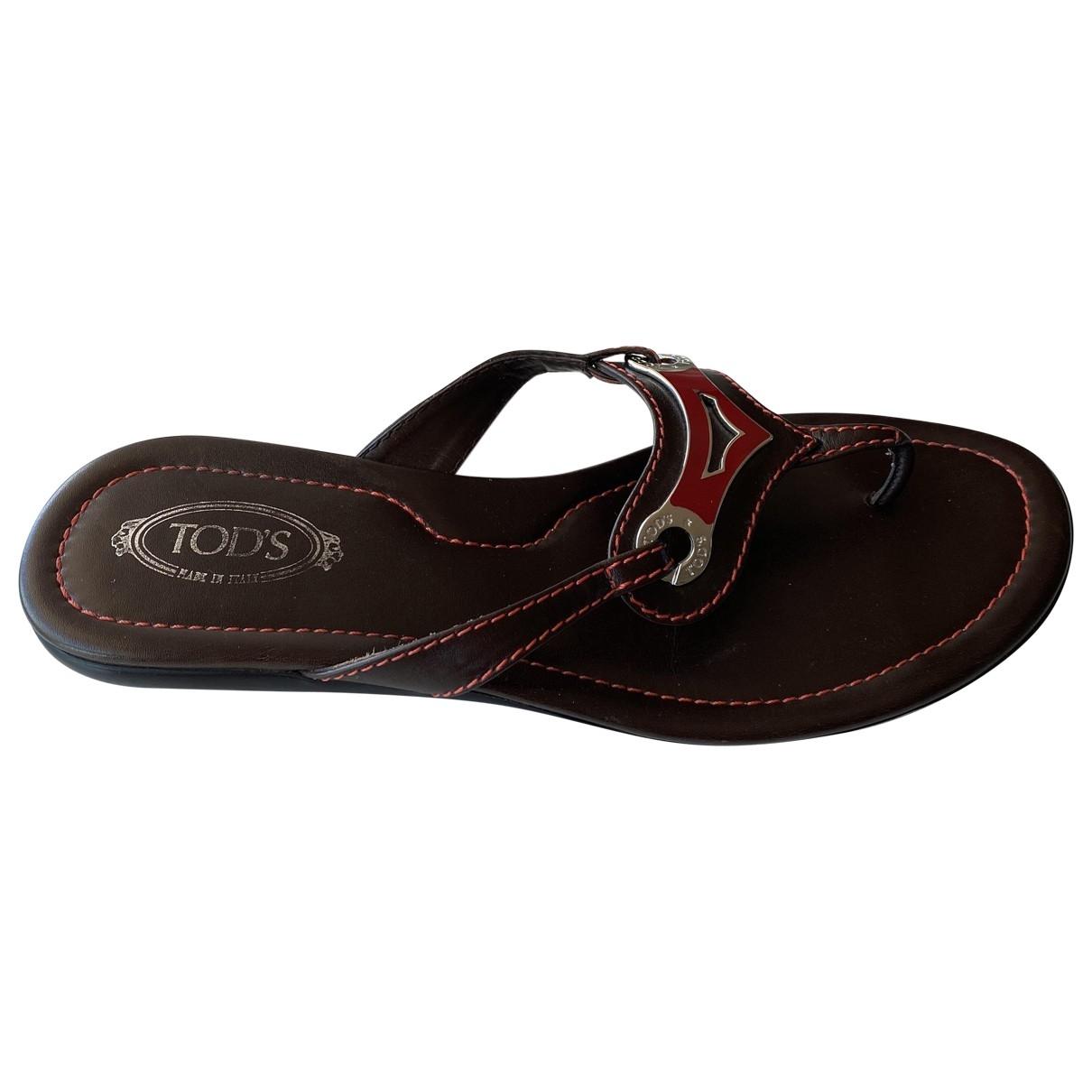 Tod's - Sandales   pour femme en cuir - marron