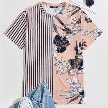 T-Shirt mit Blumen & Streifen Muster