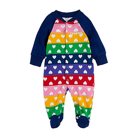 Crayola Baby Girls Knit Long Sleeve One Piece Pajama, 3 Months , Multiple Colors