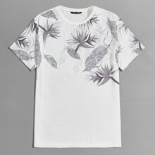 Men Tropical Print Top
