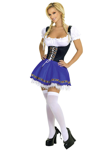 Milanoo Sexy Beer Girl Costume Halloween Women's Lace up Color Block Dress Halloween