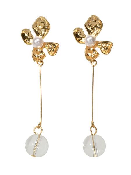 Milanoo Earrings Blond Metal Pierced Women Jewelry
