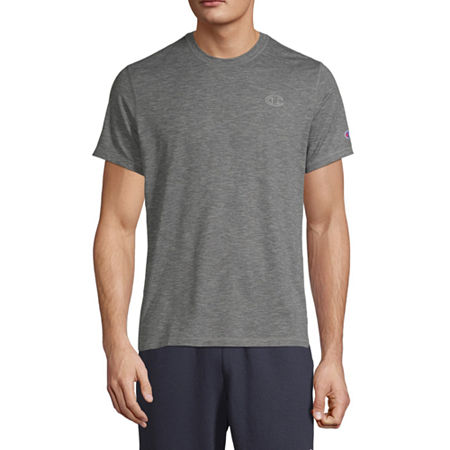 Champion Sport Mens Crew Neck Short Sleeve Moisture Wicking T-Shirt, Large , Gray