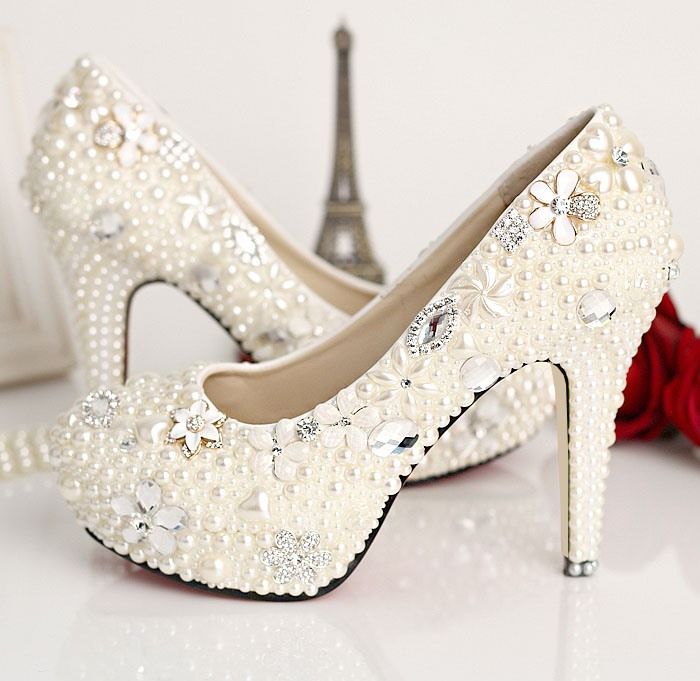 Aestheticism Rhinestone Pearl Flowers Closed Toe Stiletto Heel Wedding Shoes