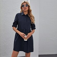 Roll Up Sleeve Shirt Dress