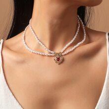 Collar a capas con diseño de corazon con perla artificial