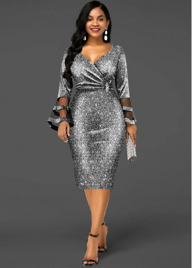 Wedding Guest Dress Sequin Hot Stamping Flare Sleeve Dress - S