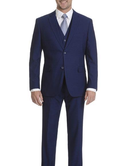 Caravelli Men's Cobalt Blue Slim Fit 2 Button Double Vent Suit
