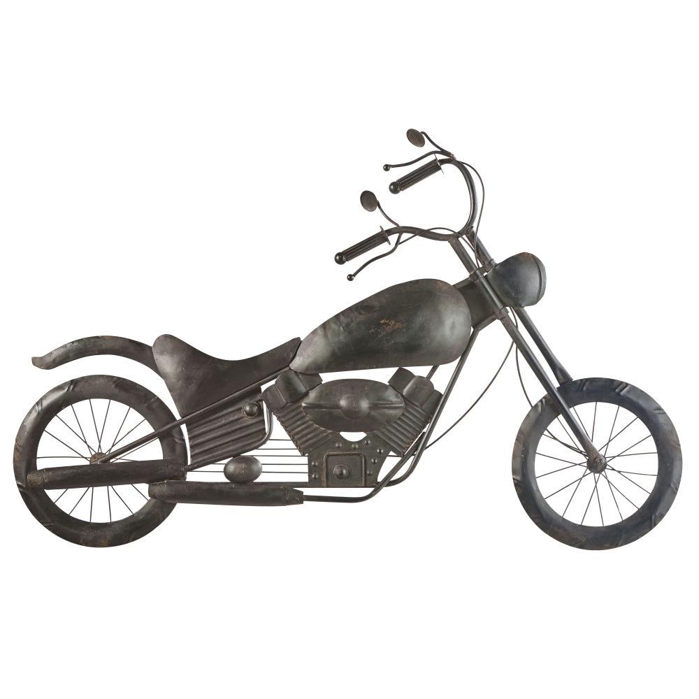 Wanddeko Motorrad aus Metall, schwarz in Antikoptik 102x66