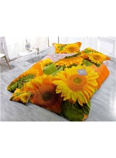 Bright Sunflowers Wear-resistant Breathable High Quality 60s Cotton 4-Piece 3D Bedding Sets