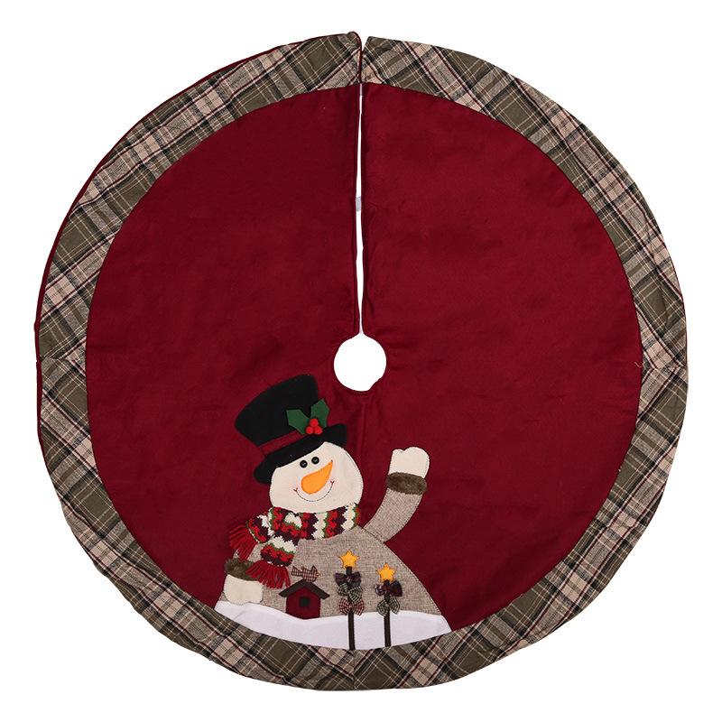 Snowman Red Background Plaid Edge Tree Skirt