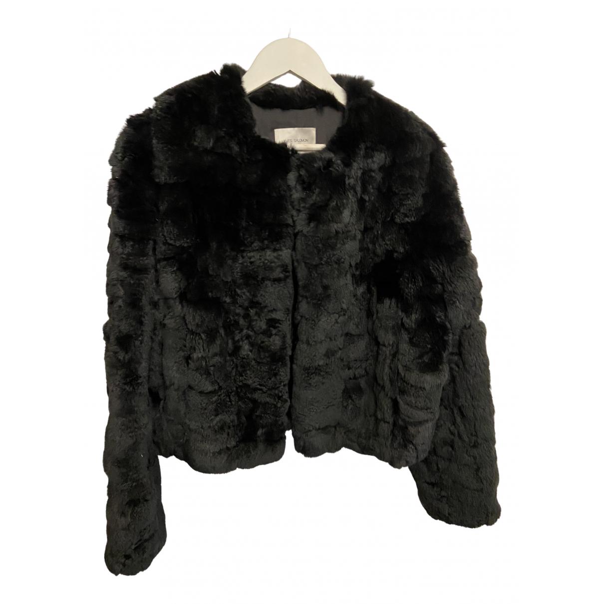 Yves Salomon N Black Rabbit coat for Women 42 FR