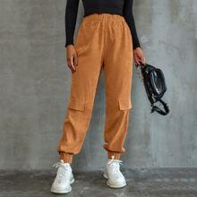 Pantalones de pana con solapa de cintura elastica